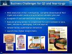 business challenges for q3 and year to go