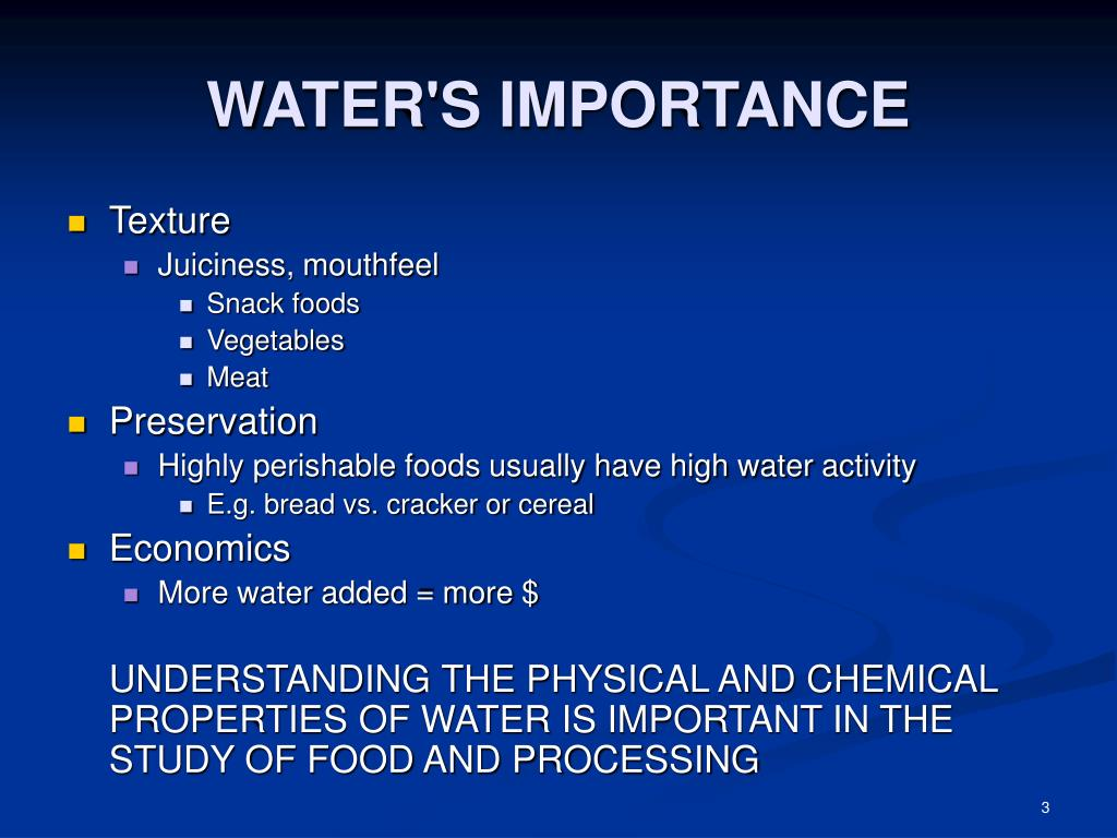 WATER'S IMPORTANCE