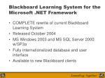 blackboard learning system for the microsoft net framework10