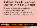 challenges towards continuous reduction of human listeriosis