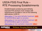 usda fsis final rule rte processing establishments