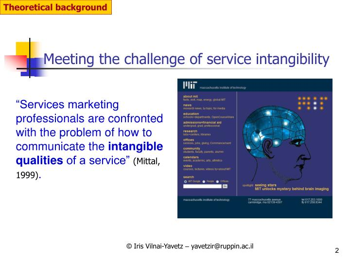 Meeting the challenge of service intangibility