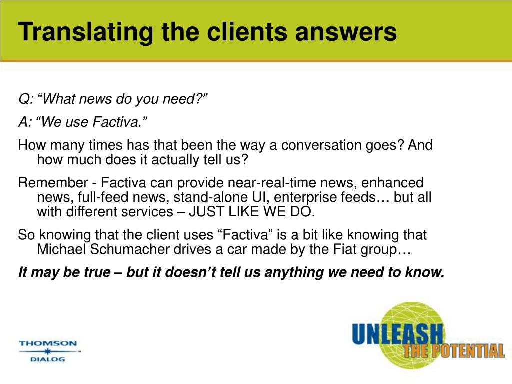Translating the clients answers