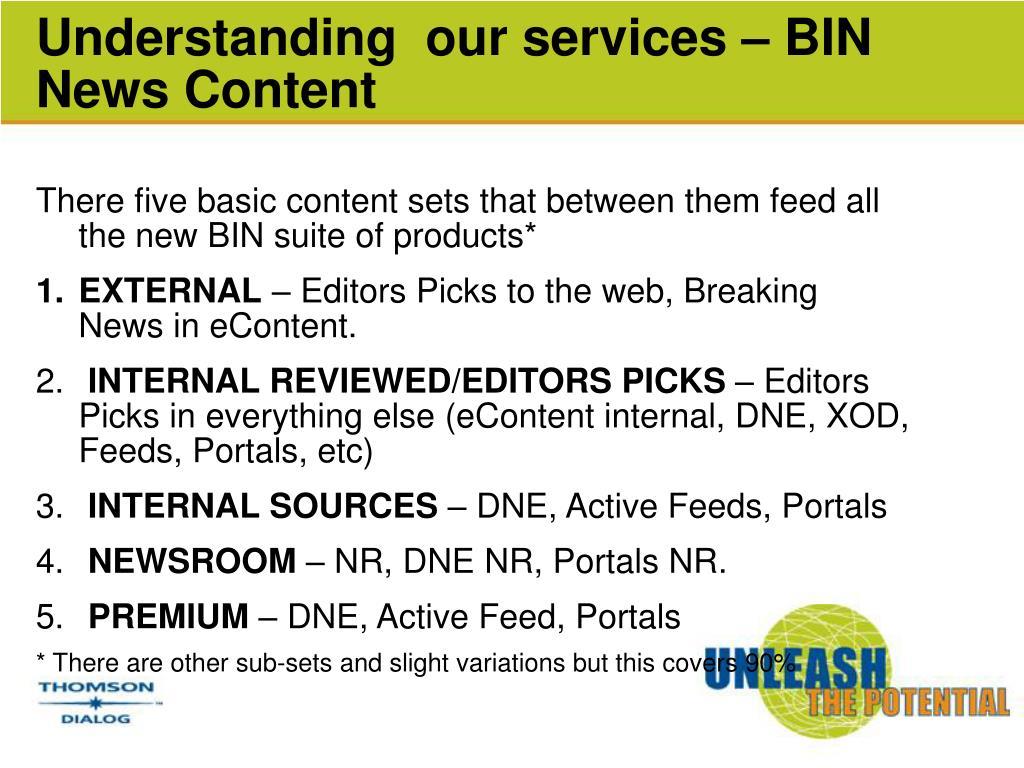 Understanding  our services – BIN News Content