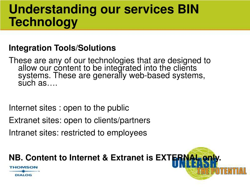 Understanding our services BIN Technology