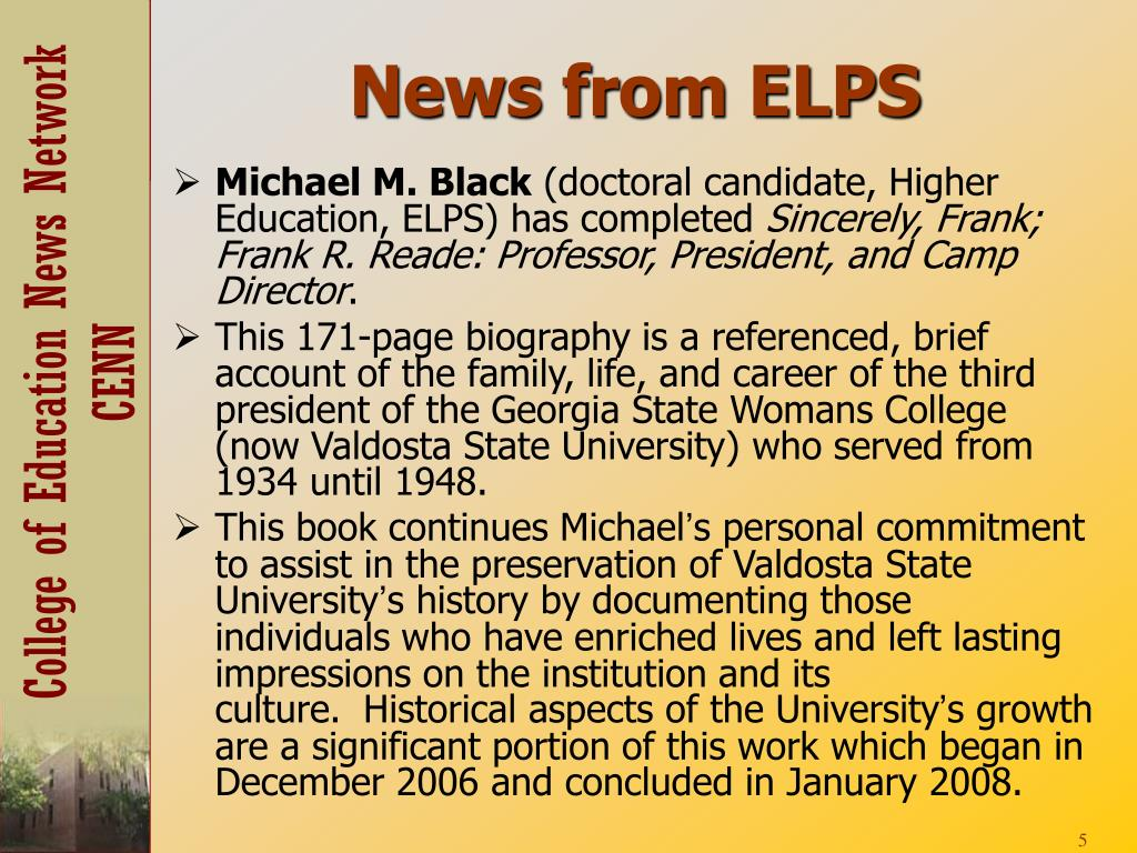News from ELPS