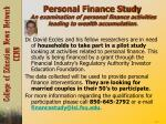 personal finance study an examination of personal finance activities leading to wealth accumulation