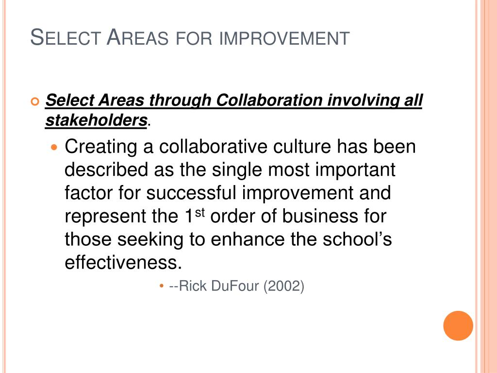 Select Areas for improvement