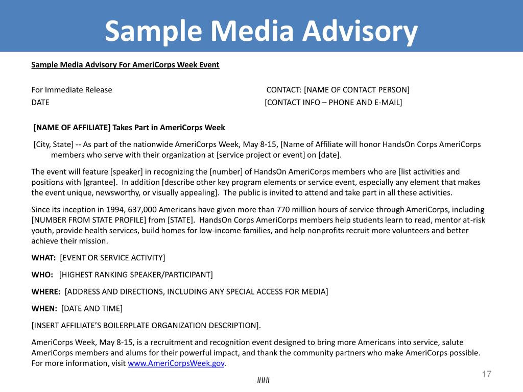 Sample Media Advisory