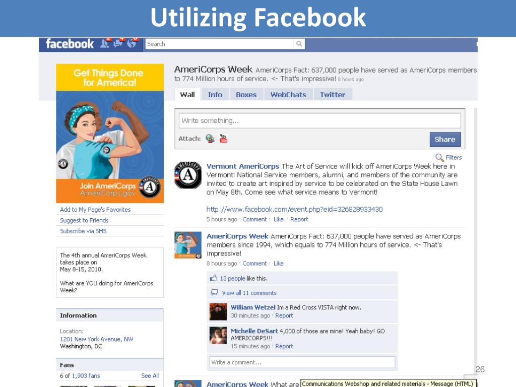 Utilizing Facebook