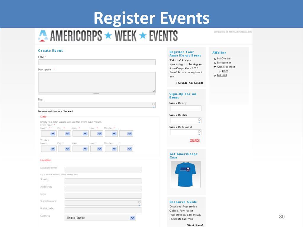 Register Events