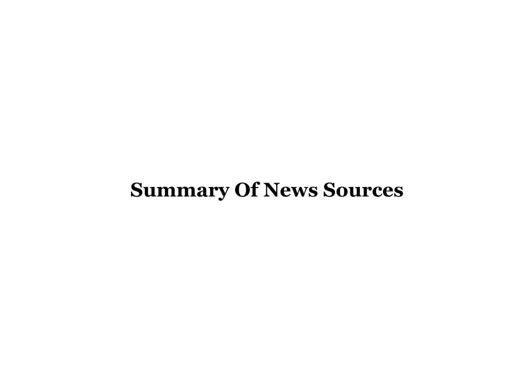 Summary Of News Sources