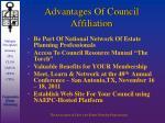 advantages of council affiliation