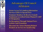 advantages of council affiliation5