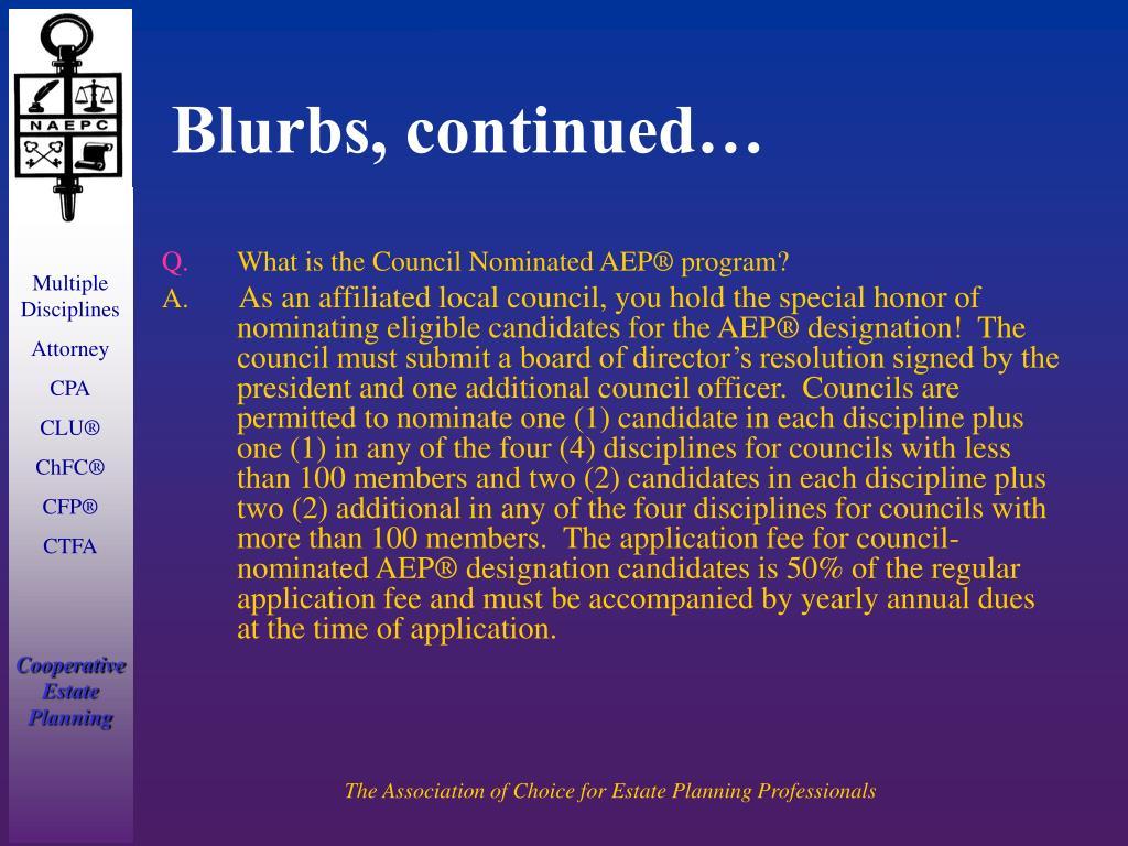 Blurbs, continued…