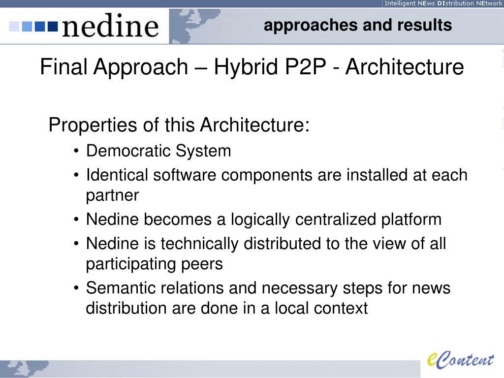 Final Approach – Hybrid P2P - Architecture