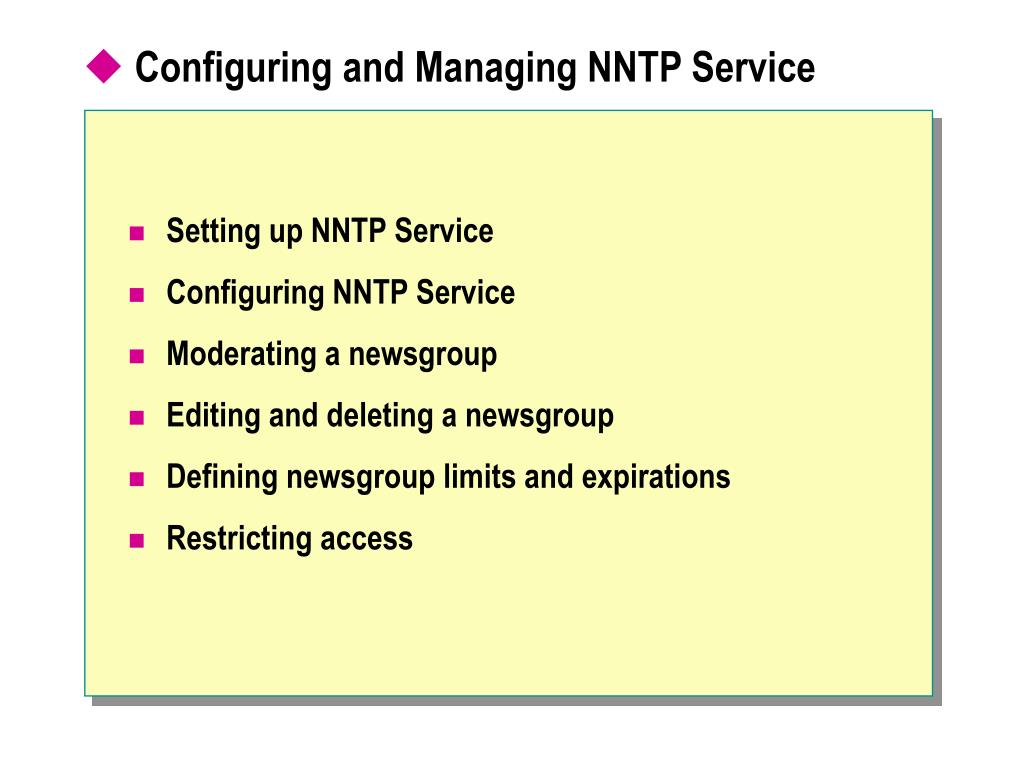 Configuring and Managing NNTP Service