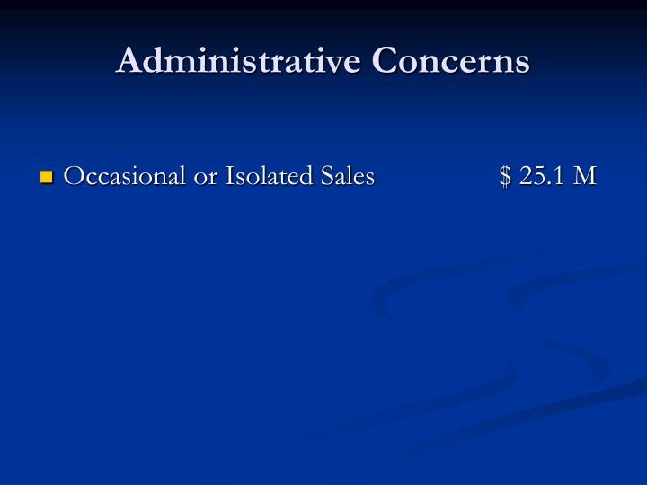 Administrative Concerns
