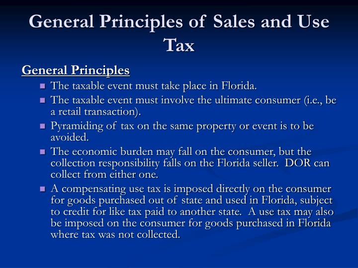 General principles of sales and use tax