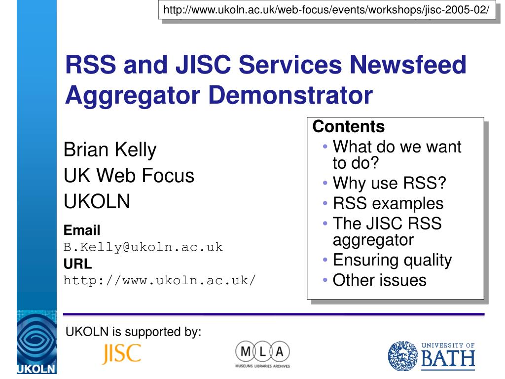 rss and jisc services newsfeed aggregator demonstrator l.