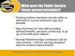 what were the public service forum agreed principles