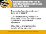why did members strike over the local government pension scheme lgps on 28 march