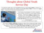 thoughts about global youth service day