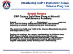 introducing cap s hometown news release program