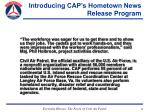 introducing cap s hometown news release program35