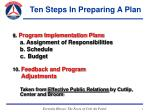 ten steps in preparing a plan7