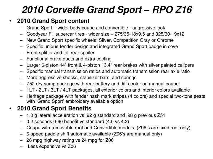 2010 corvette grand sport rpo z16