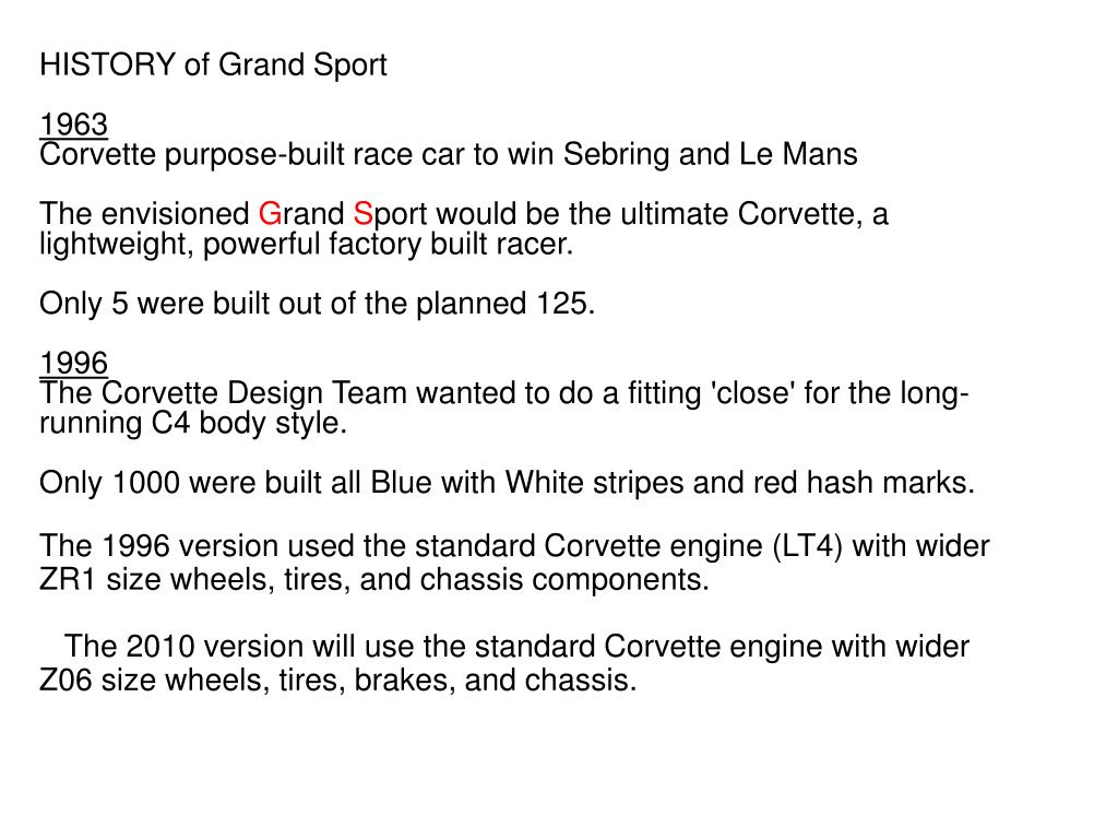 HISTORY of Grand Sport