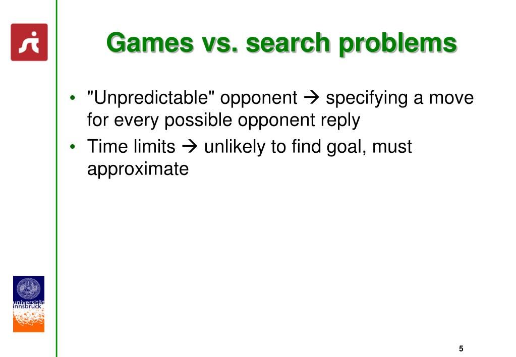 Games vs. search problems