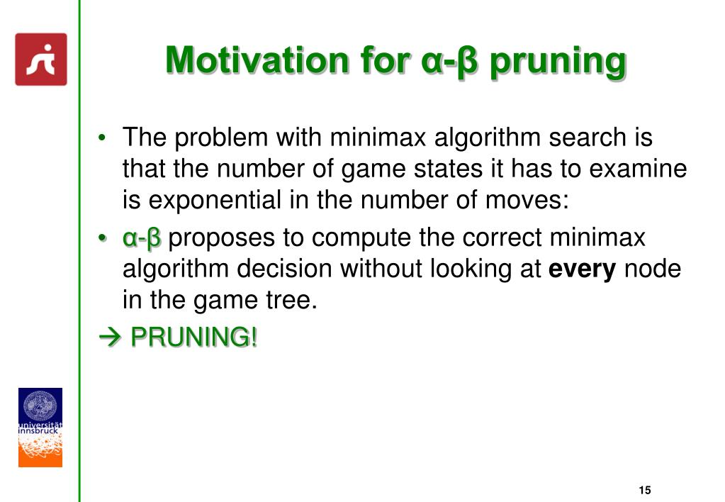 Motivation for α-β pruning