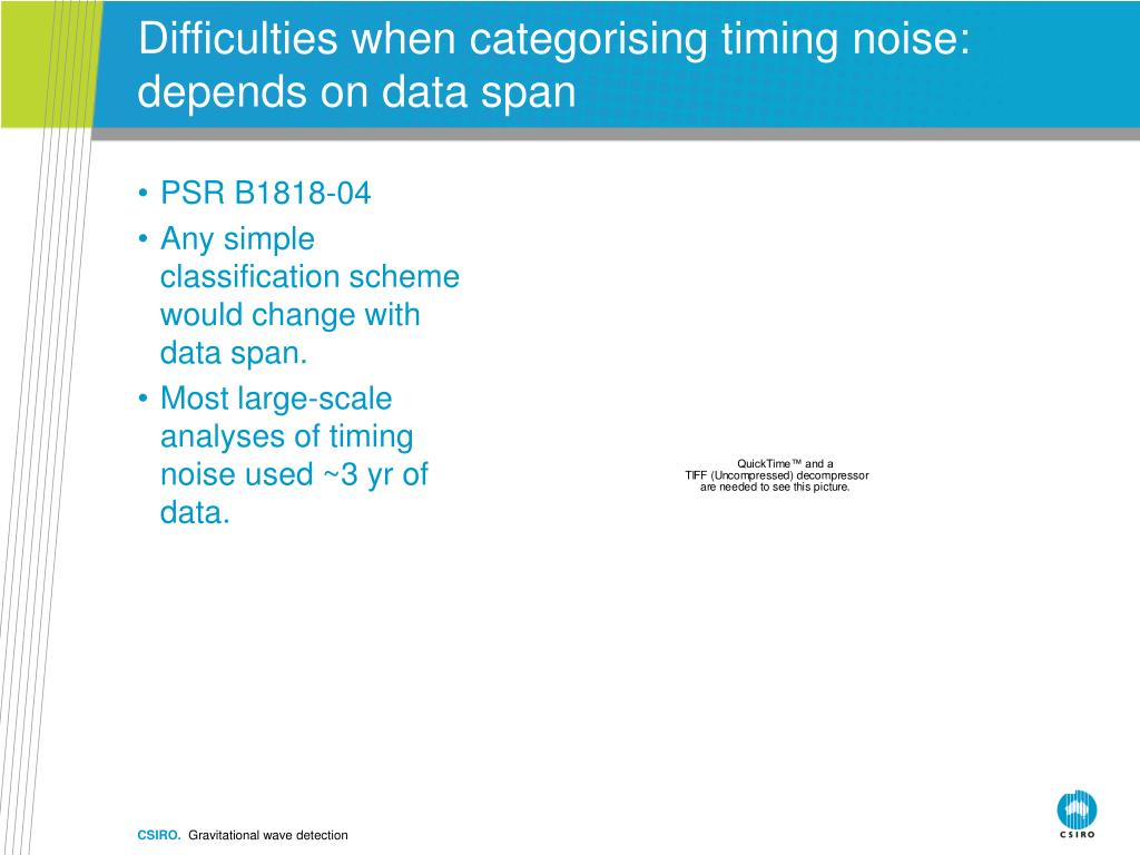 Difficulties when categorising timing noise: depends on data span