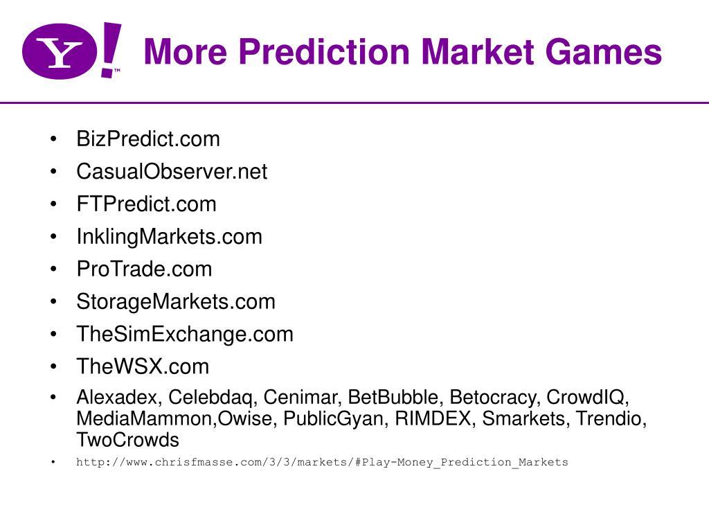 More Prediction Market Games