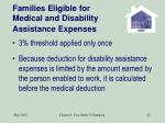 families eligible for medical and disability assistance expenses