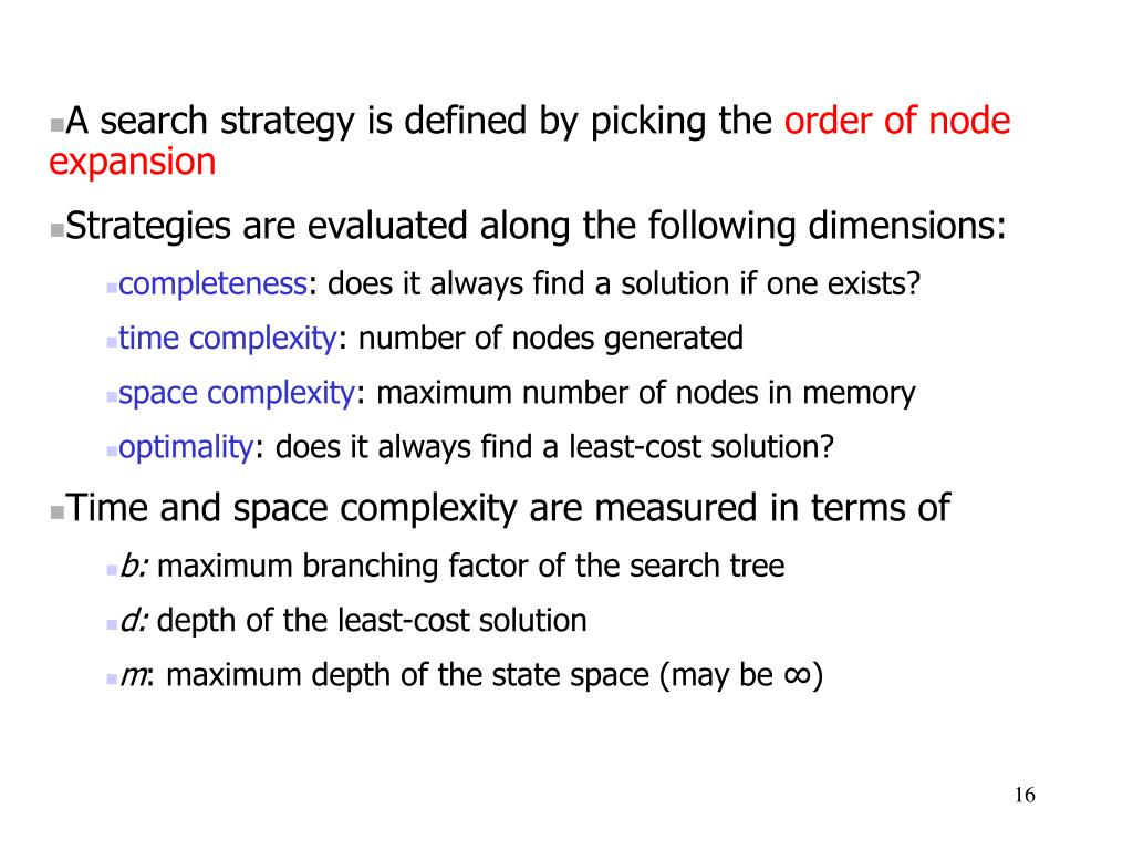 A search strategy is defined by picking the