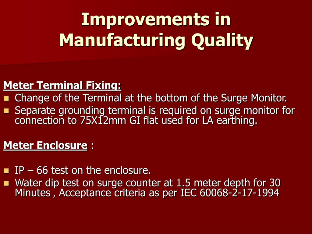 Improvements in Manufacturing Quality