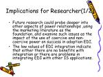 implications for researcher 1 2