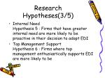research hypotheses 3 5