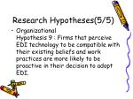 research hypotheses 5 5