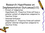 research hypotheses on implementation outcomes 1 2