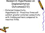 research hypotheses on implementation outcomes 2 2