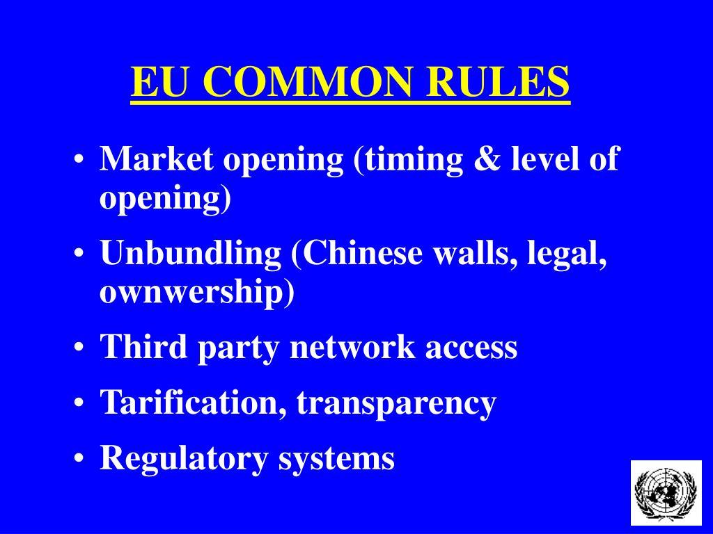 EU COMMON RULES