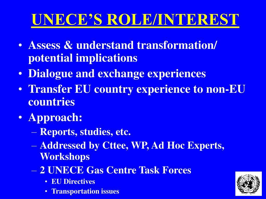 UNECE'S ROLE/INTEREST