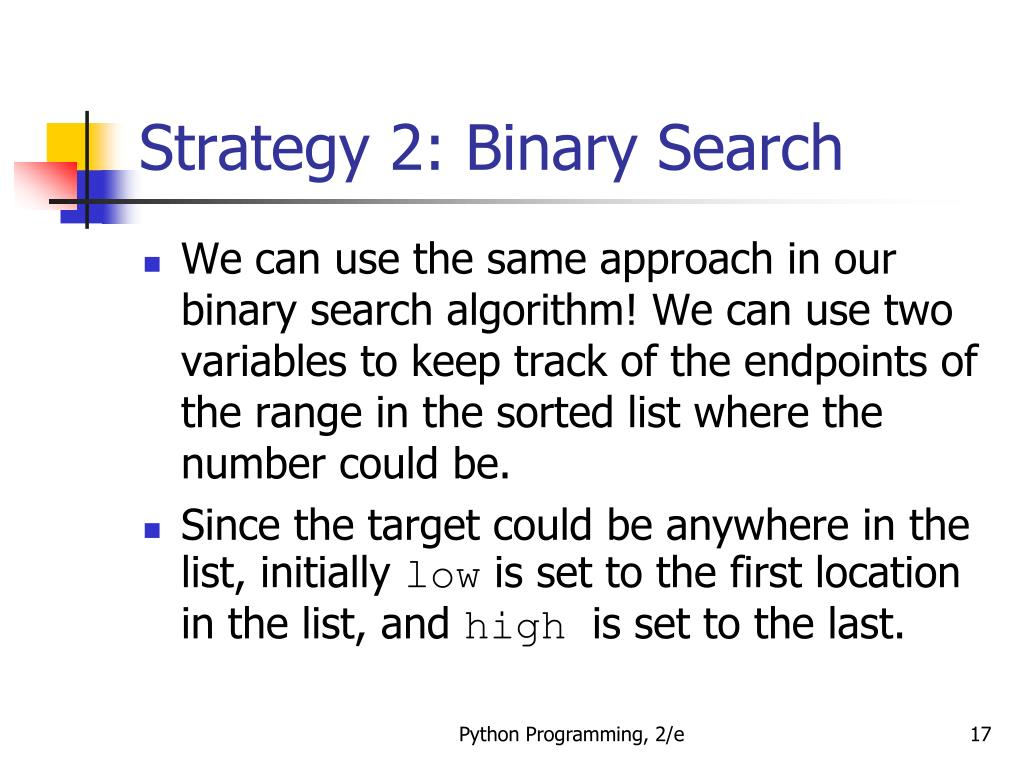 Search strategy binary combinations