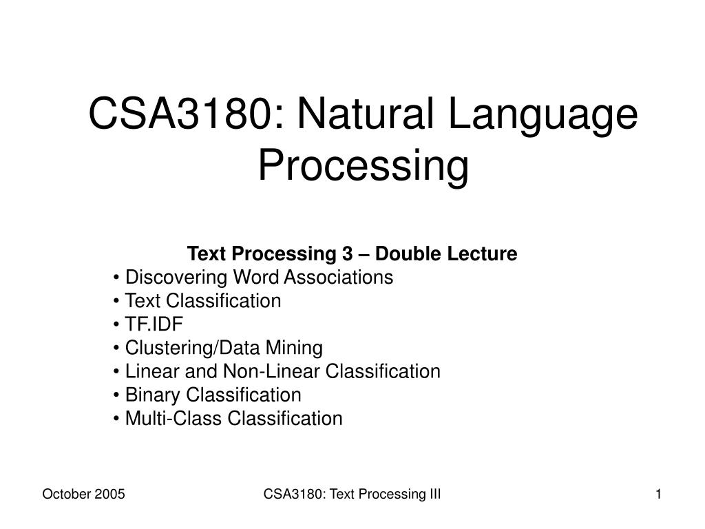 csa3180 natural language processing l.