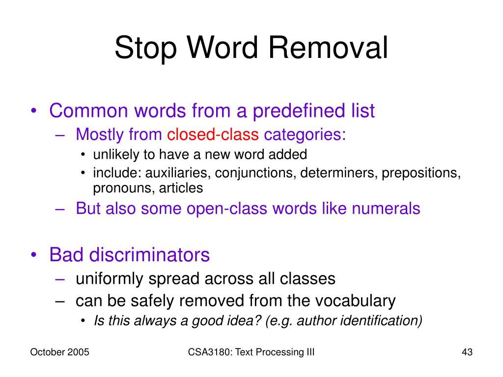 Stop Word Removal