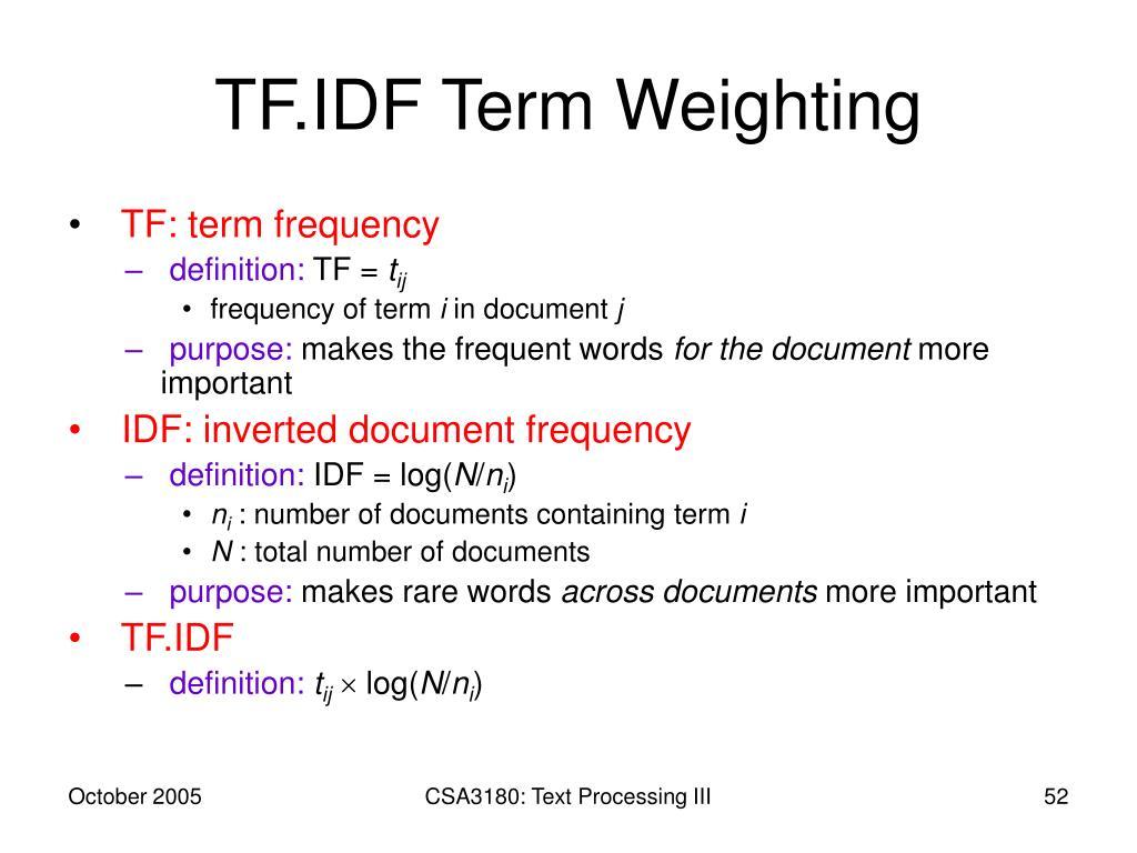 TF.IDF Term Weighting